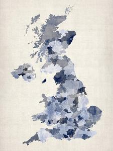 Great Britain UK Watercolor Map by Michael Tompsett