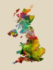 Great Britain Watercolor Map by Michael Tompsett