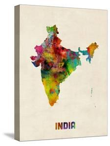 India Watercolor Map by Michael Tompsett