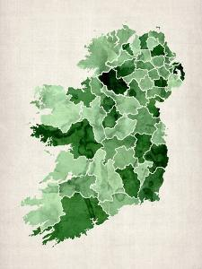 Ireland Watercolor Map by Michael Tompsett