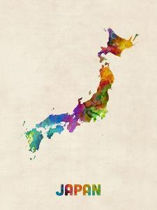 Japan Watercolor Map by Michael Tompsett