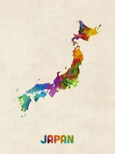 Japan Watercolor Map by Michael Tompsett