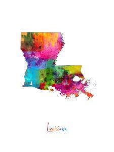 Louisiana Map by Michael Tompsett