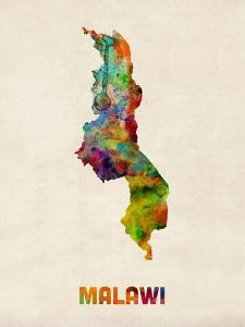 Malawi Watercolor Map by Michael Tompsett