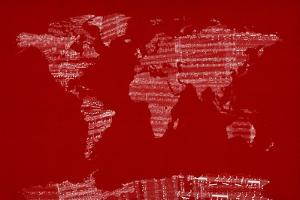 Map of the World from Old Sheet Music by Michael Tompsett