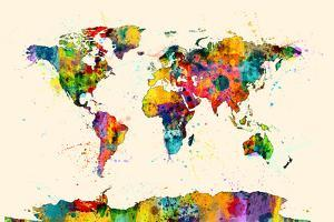 Beautiful michael tompsett artwork for sale posters and prints map of the world map watercolor michael tompsett gumiabroncs Image collections
