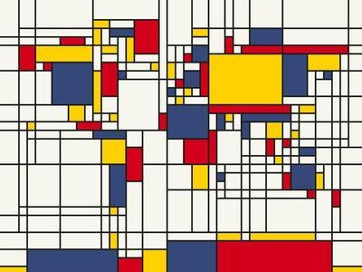 Mondrian Abstract World Map