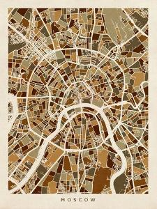 Moscow City Street Map by Michael Tompsett