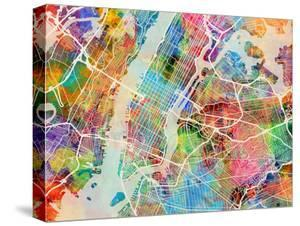 Maps of new york canvas artwork for sale posters and prints at art new york city street map malvernweather Choice Image