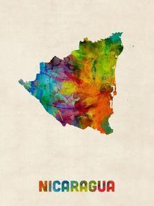 Nicaragua Watercolor Map by Michael Tompsett