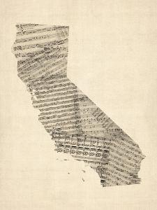 Old Sheet Music Map of California by Michael Tompsett