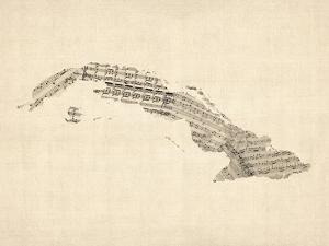 Old Sheet Music Map of Cuba by Michael Tompsett