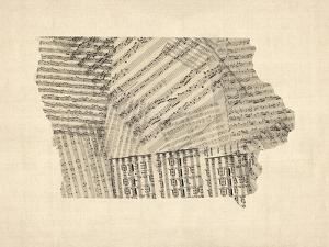 Old Sheet Music Map of Iowa by Michael Tompsett