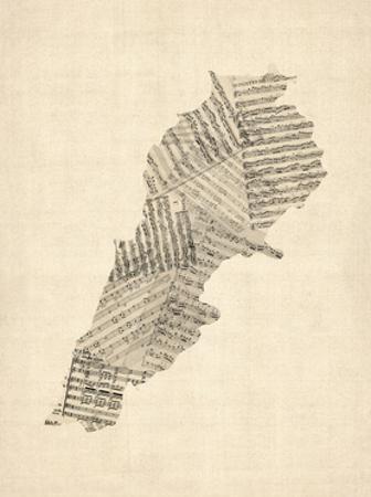 Old Sheet Music Map of Lebanon by Michael Tompsett