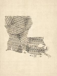 Old Sheet Music Map of Louisiana by Michael Tompsett