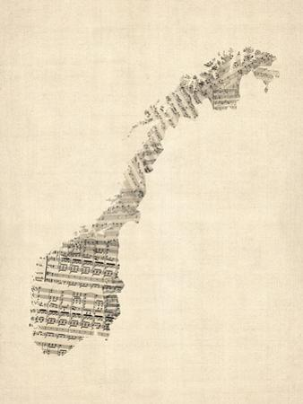 Old Sheet Music Map of Norway by Michael Tompsett