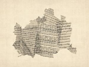Old Sheet Music Map of Vienna Austria Map by Michael Tompsett
