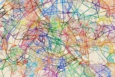Paris France Street Map by Michael Tompsett