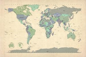 Political Map of the World Map by Michael Tompsett
