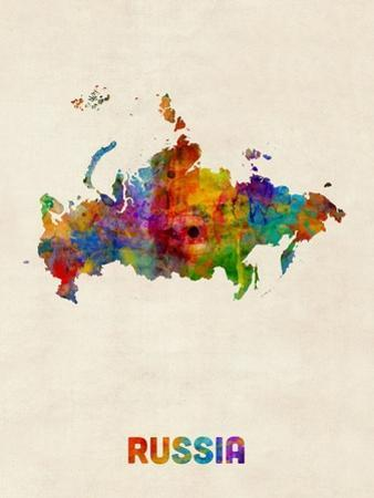 Russia Watercolor Map by Michael Tompsett