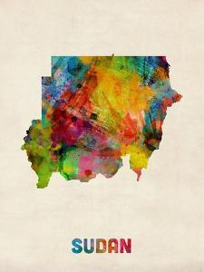 Sudan Watercolor Map by Michael Tompsett