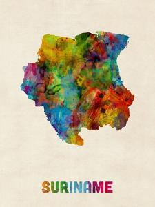 Suriname Watercolor Map by Michael Tompsett