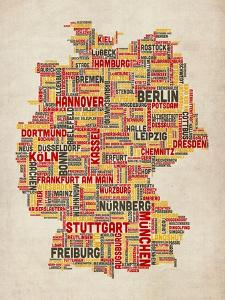 Text Map of Germany Map by Michael Tompsett