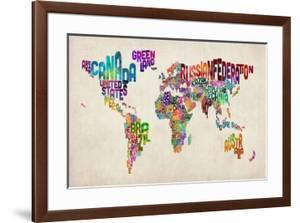 Typographic Text World Map by Michael Tompsett