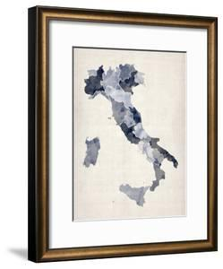 Watercolor Map of Italy by Michael Tompsett
