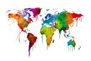 Watercolor Map of the World Map by Michael Tompsett