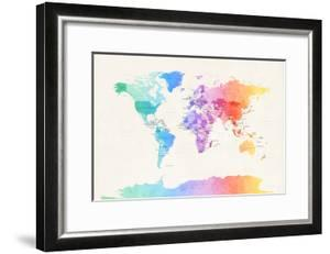Watercolour Political Map of the World by Michael Tompsett