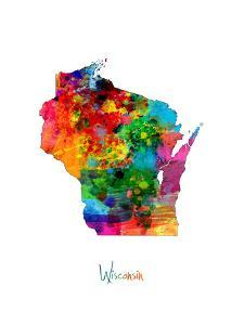 Wisconsin Map by Michael Tompsett