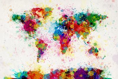 World Map Paint Splashes