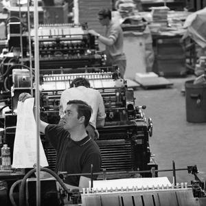 Checking Print, the White Rose Press, Mexborough, South Yorkshire, 1968 by Michael Walters