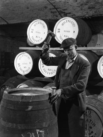Coopering, Making Whiskey Barrels at Wiley and Co, Sheffield, South Yorkshire, 1961