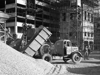 Early 1950S Bedford M Tipper Delivering Aggregates to a Building Site, South Yorkshire, July 1954 by Michael Walters