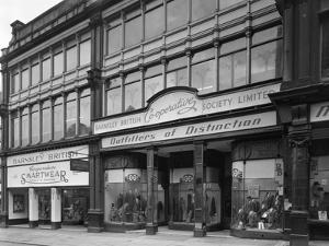Exterior of the Barnsley Co-Op Central Mens Tailoring Department, South Yorkshire, 1959 by Michael Walters