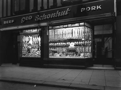 George Schonhuts Butchers Shop in Rotherham, South Yorkshire, 1955