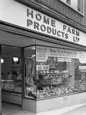 Home Farm Products Ltd Butchers Shop Front, Sheffield, South Yorkshire, 1966