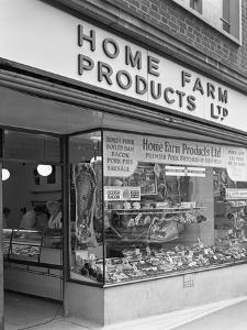 Home Farm Products Ltd Butchers Shop Front, Sheffield, South Yorkshire, 1966 by Michael Walters