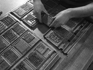 Linotype Block Being Set in the Dye at a Printworks, Mexborough, South Yorkshire, 1959 by Michael Walters
