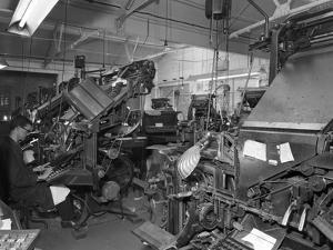Linotype Machine Room at a Printing Company, Mexborough, South Yorkshire, 1959 by Michael Walters