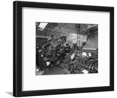 Linotype Machine Room at a Printing Company, Mexborough, South Yorkshire, 1959
