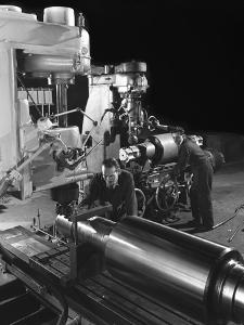 Machining a Five Foot Roller on a Lathe at Wombwell Foundry, South Yorkshire, 1963 by Michael Walters