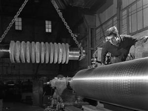 Machining Industrial Rollers at the Wombwell Foundry and Engineering Co, South Yorkshire, 1963 by Michael Walters