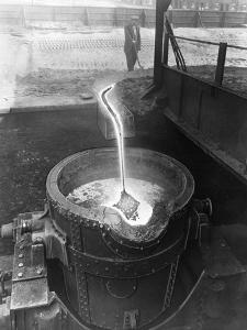 Molten Steel, Park Gate Iron and Steel Co, Rotherham, South Yorkshire, April 1955 by Michael Walters