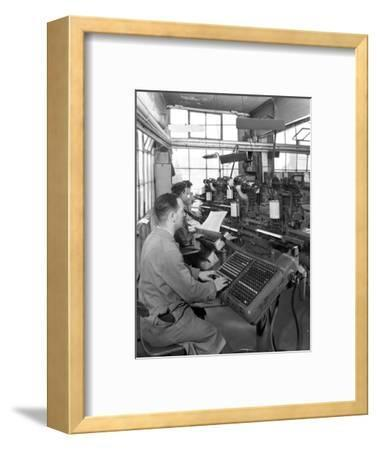 Monotype Keyboards in Operation at a Printing Company, Mexborough, South Yorkshire, 1959