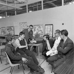 Radio Interview of Schoolboys on a Factory Visit, Stanley Tools, Sheffield, South Yorkshire, 1968 by Michael Walters