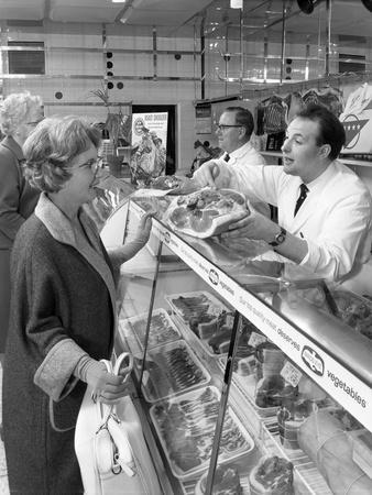 Scene Inside a Butchers Shop, Doncaster, South Yorkshire, 1965