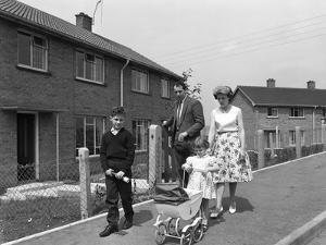 Street Scene with Family, Ollerton, North Nottinghamshire, 11th July 1962 by Michael Walters